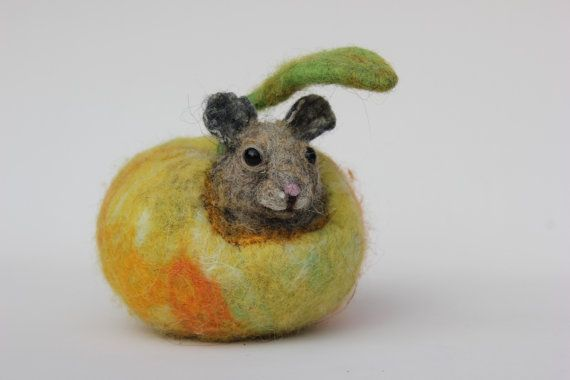 Felted mouse at home, felted yellow apple,art dolls,felting.   Felted from natural sheep wool. This soft sculpture created with careful attention to detail and face character. Made from high quality cardet wool.  Can be seatled on a table, shelf, beside the bed or everywhere in interior. Makes home cozy. Fits well in kids room. This is real homefriend !  Needle felted mouse is ideal for your collection or home design. Not suitable for active playing. It is 9cm (3.5in) tall . .  Thanks for…