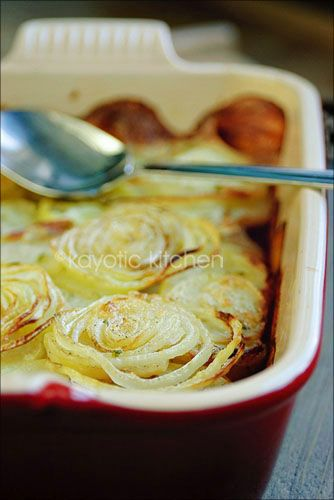 Potatoes a la Boulangère - simple potatoes, onions, cream and (if you wish) cheese. Simple comfort.
