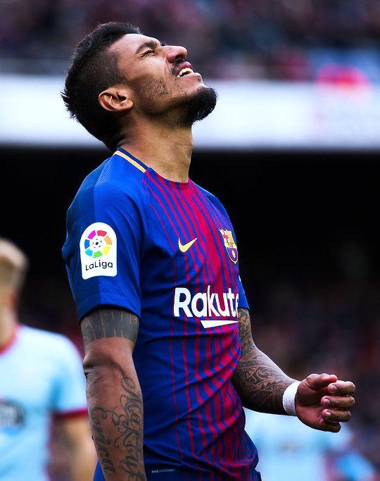 Paulinho of FC Barcelona reacts during the La Liga match between FC Barcelona and Celta de Vigo at Camp Nou on December 2, 2017 in Barcelona, Spain.