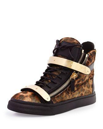 Calf Hair High-Top Sneaker, Leopard by Giuseppe Zanotti