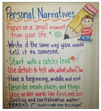 best personal narrative writing ideas personal  anchor chart for personal narratives