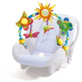 This is the absolute BEST baby toy ever. Fits on the car seat, high chair, stroller, bouncer... you name it. Completely adjustable.