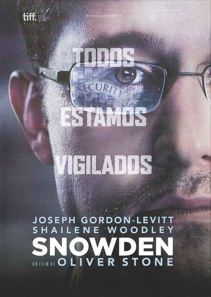 """""""Snowden"""" (2016) Estados Unidos, dirigida por Oliver Stone. Basada en el libro """"The Snowden files. The inside story of the world's most wanted man"""", escrito por Luke Harding, y en un libro escrito por Anatoly Kucherena, el abogado ruso de Edward Snowden. Narra los acontecimientos que siguieron a la publicación por parte del diario 'The Guardian' de los documentos clasificados que aportó Edward Snowden sobre el programa secreto de la NSA."""