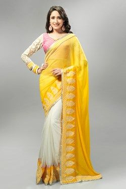 Sarees,Admyrin,White and Yellow Half and Half Saree With Brocade and Net...