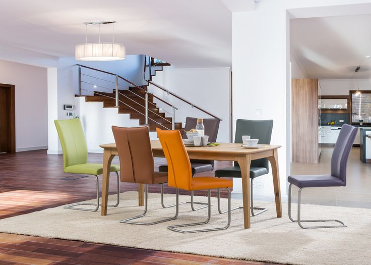 With the S64 chair in color your dining room become more dynamic. #modernchairs #KloseFurniture #woodentable
