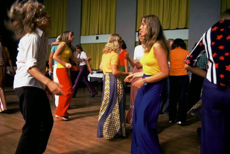 East Germany. Mecklenburg. 1974. Young women dancing in a disco in Mecklenburg.