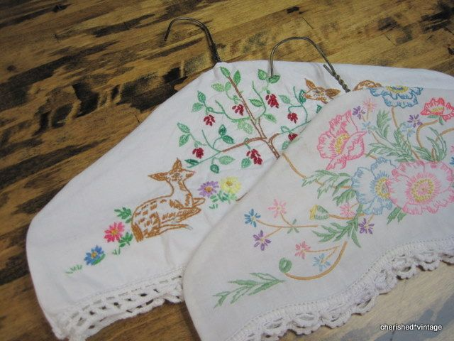hanger covers: Pillows Cases, Embroidered Pillowcases, Cherish Vintage, Wire Hangers, Hangers Covers, Coats Hangers, Vintage Pillows, Vintage Linens, Hangers Makeovers