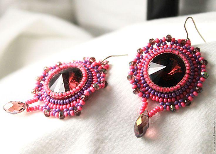 Купить Серьги со стразом - коралловый, розовый, фиолетовый, бордовый, серьги, серьги со строзом