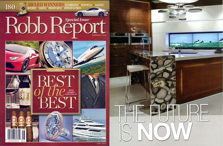 "Robb Report - Best of the Best Special Issue (June 2012)  Fusion Kitchen - Cameo Kitchens and Fine Cabinetry partnered up with Ariel Muller Designs to design this compelling kitchen that utilizes new technology. ""The kitchen shouldn't just be a kitchen to cook in, it's also for people to connect, spend time, entertain and communicate."""