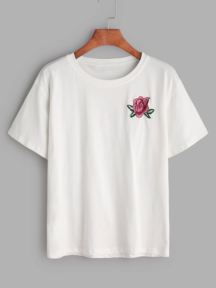 Shop White Flower Embroidered T-shirt $10