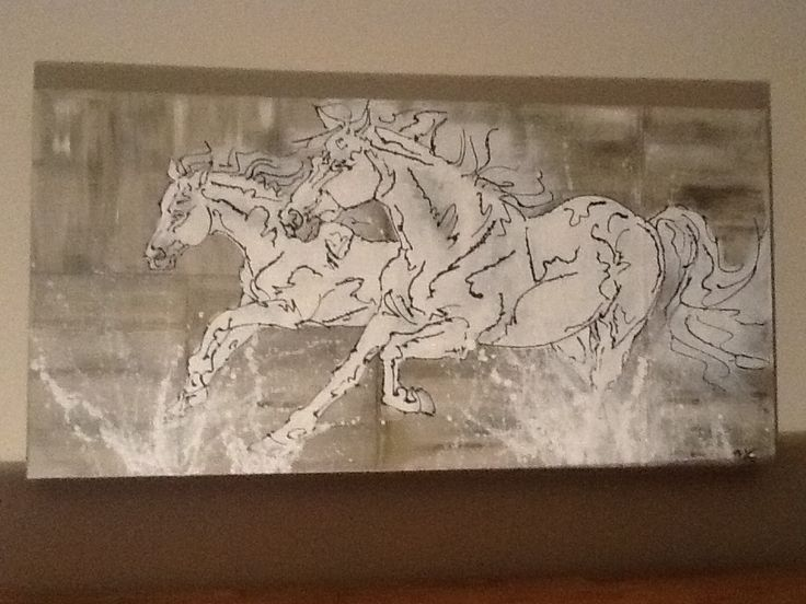 Running horses in water painting