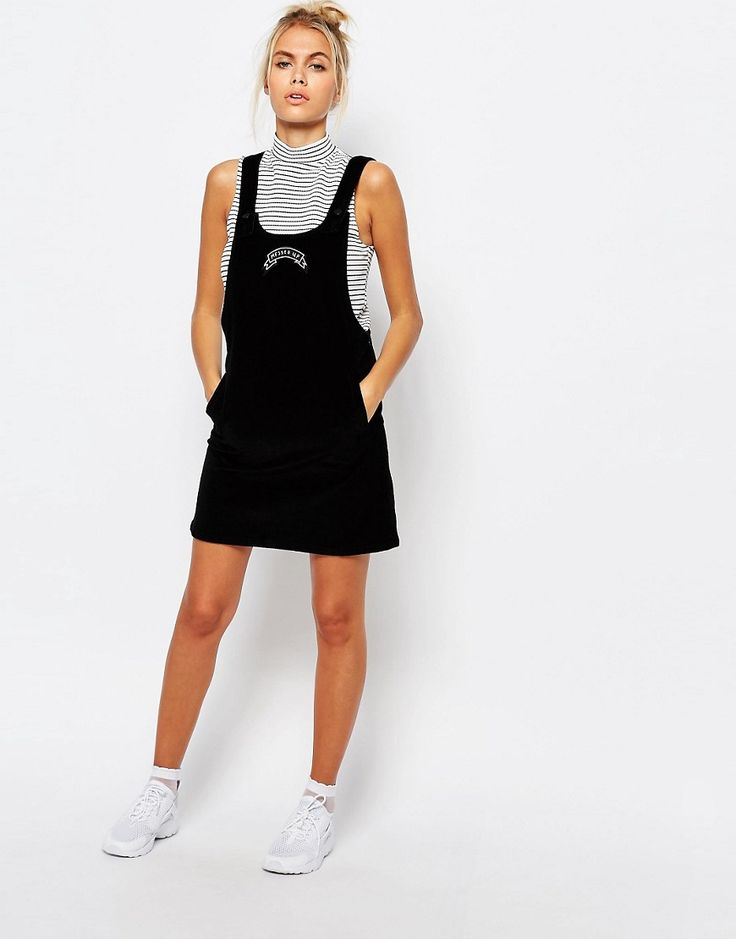 Image 4 of Lazy Oaf Corduroy Pinafore Dress With Messed Up Slogan