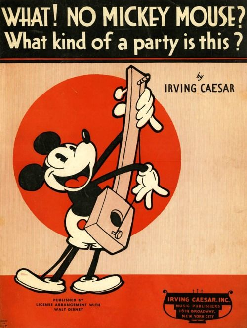 What kind of party is this?! Mickey Mouse vintage sheet music
