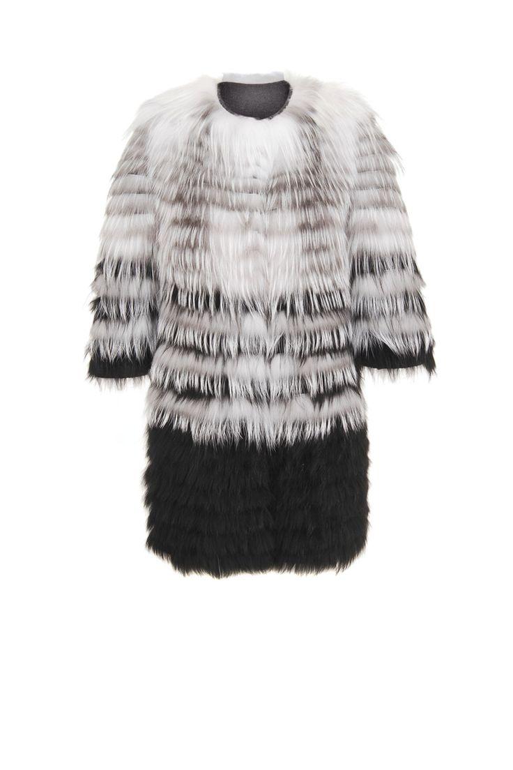 Luksusowe okrycie ze strzyżonym futrem z lisa