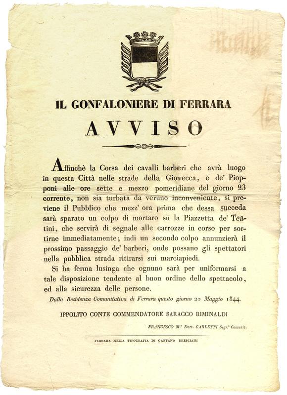 Ferrara: avviso del 20 maggio1844