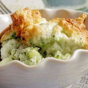 Lemon-Scented Broccoli Soufflé: Serve this fluffy side as a perfect foil for your Easter dinner table. The soufflé will fall when it's taken out of the oven, but its airy texture and fresh citrus aroma will remain long after it has been served.