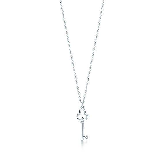 Pendente chave Trefoil Tiffany Keys em prata de lei, mini.