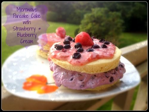 Microwave Pancake Cake with Strawberry and Blueberry Cream - HungryLittleGirl
