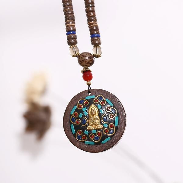 Casual Women Retro Wooden Buddha Necklaces