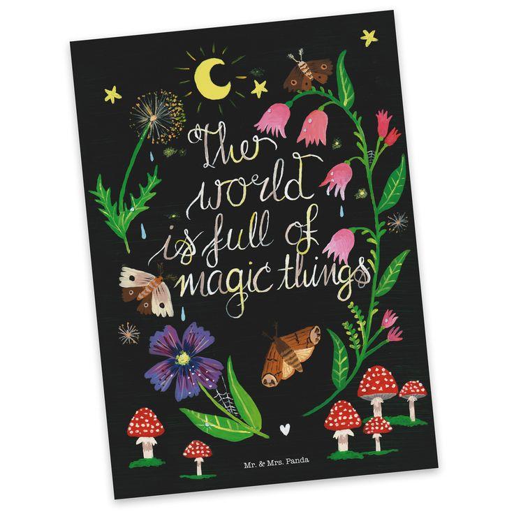Postkarte Magische Welt - Nachmotiv aus Karton 300 Gramm  weiß - Das Original von Mr. & Mrs. Panda.  Diese wunderschöne Postkarte aus edlem und hochwertigem 300 Gramm Papier wurde matt glänzend bedruckt und wirkt dadurch sehr edel. Natürlich ist sie auch als Geschenkkarte oder Einladungskarte problemlos zu verwenden. Jede unserer Postkarten wird von uns per hand entworfen, gefertigt, verpackt und verschickt.    Über unser Motiv Magische Welt - Nachmotiv  Die Welt ist voller magischer Momente…
