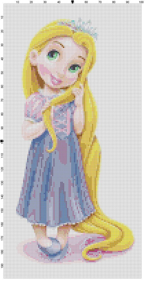 Mini Rapunzel cross stitch pattern PDF by Bluegiantstitch on Etsy, £1.20