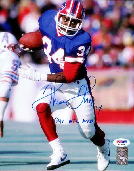 This is an 8x10 photo that has been hand signed by Thurman Thomas. It comes with the tamper-proof PSA/DNA sticker and matching certificate for authentication.