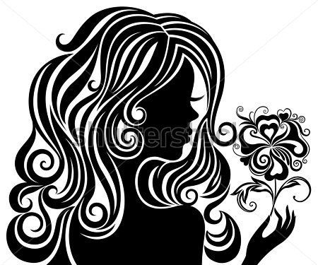 Sagoma in bianco e nero di una ragazza con capelli lussuoso e fiore