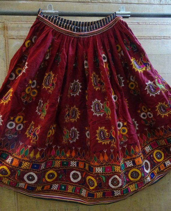 d9ced6ee9f Vintage Handmade Indian Banjara Skirt, Hand Embroidered Gypsy Rabari Skirt