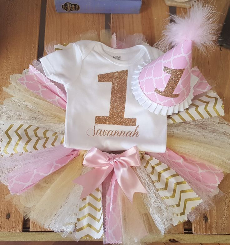 Pink and Gold Fabric First Birthday Tutu Set                                                                                                                                                                                 More