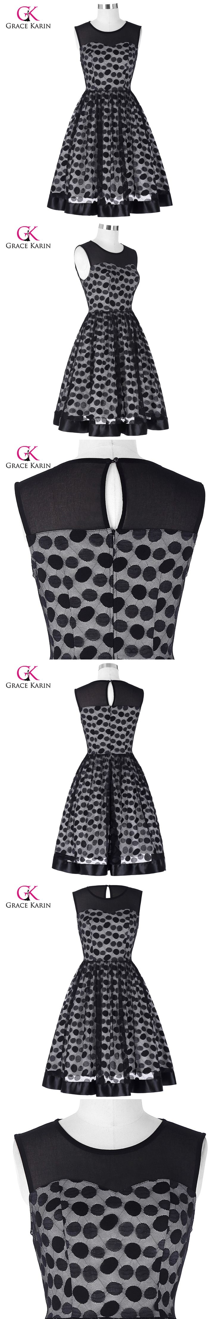 Grace Karin Short Evening Dress Polka Dot Print Vestidos Rockabilly Vintage Formal Evening Party Gowns Elegant Black Prom Dress