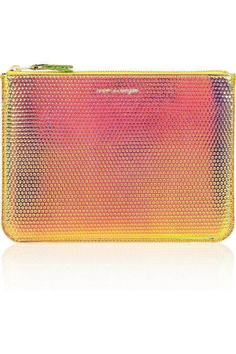 Don't eat your pouch, this salmon iridescent Comme des Garcons pouch is not food.