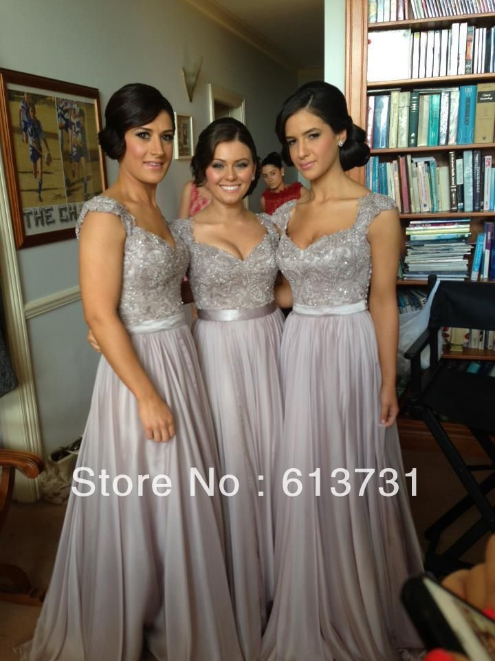 2013 New Arrival Norma Couture Grey A Line Cap Sleeves Chiffon Long Evening Dresses Party Prom Gowns with Beadins and Lace Top $159.00