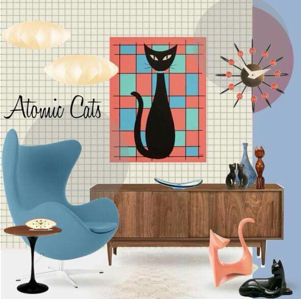 So many of our favorite things... atomic cats, mid century mod!