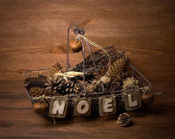 Rustic Wire Basket NOEL by ForMomentsinTime on Etsy