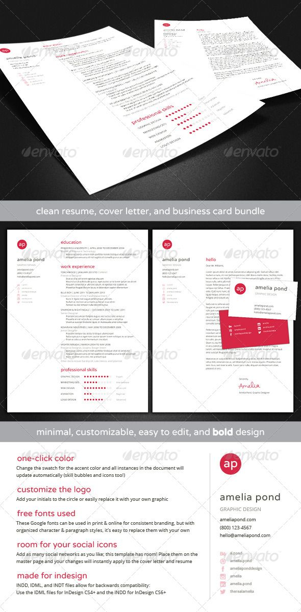 83 best print templates images on pinterest print templates clean resume cover letter business card bundle reheart Gallery