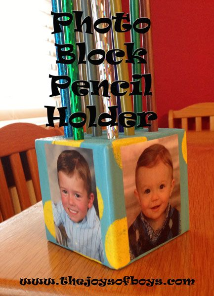 Photo Block Pencil holder made with Mod Podge washout from TheJoysofBoys.com