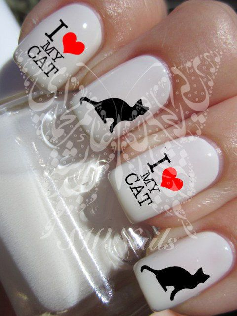 I Love My Cat Black Cat Nail Art Nail Water Decals por SWNails