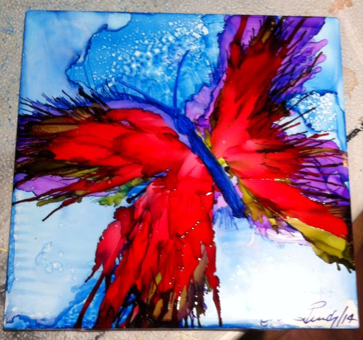 Alcohol Inks on Tile by Christine Purdy                                                                                                                                                                                 More