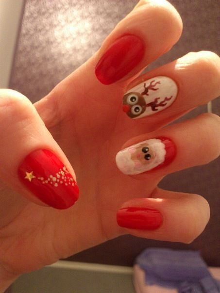 Cute Red Santa Christmas Nail Art - Cartoon Santa Christmas Nail Art