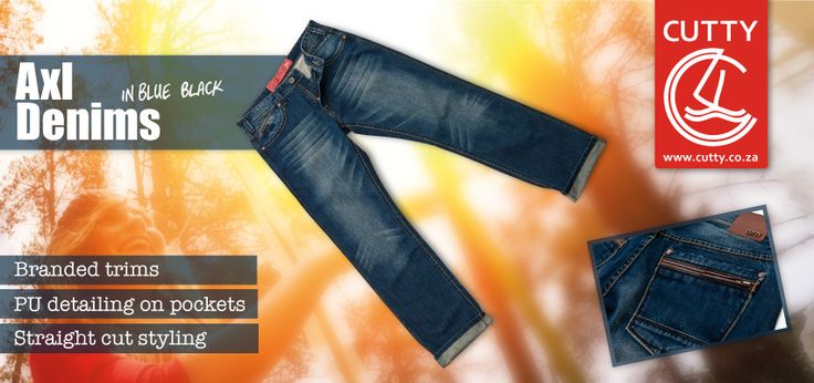 Introducing one of Cutty's most desirable denims, the Axl. Available in a rich blue-black colourway, these durable denims are made from 100% cotton with sandblasting on the fronts and PU trim detailing on the back. Dress up your Axl Denims with collared shirts and blazers or rock the casual look with simple tees and your favourite knits.
