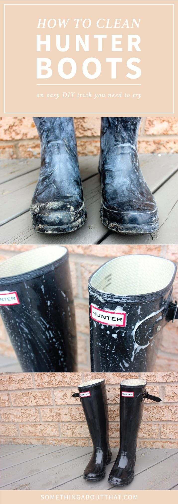 How To Clean Hunter Boots - Get rid of the white film from blooming | http://somethingaboutthat.com