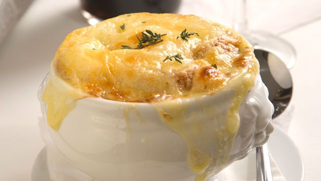 French Onion Soup is what we order in restaurants but it isn't difficult to make at home. Super cheesy and rich with onion flavor, it's a perfect weekend bariatric meal with a turkey lettuce rollup or side salad.