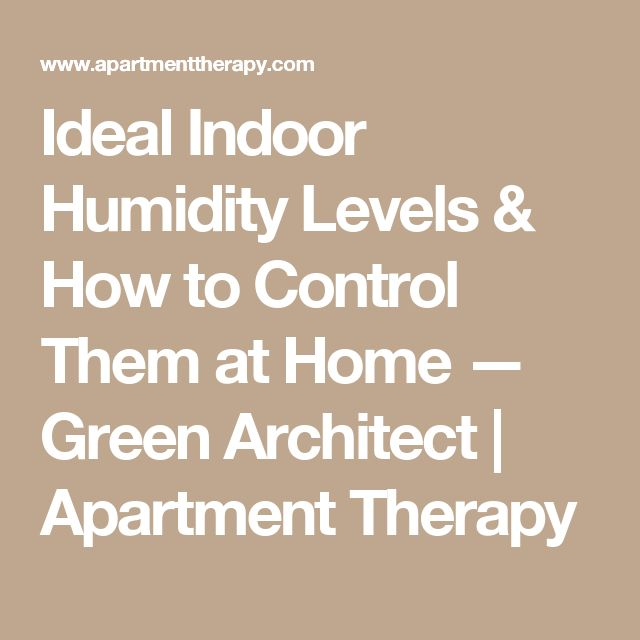 Ideal Indoor Humidity Levels & How to Control Them at Home — Green Architect | Apartment Therapy