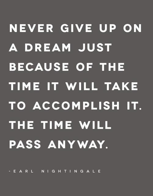 Never give up on a dream just because of the time it will take to accomplish it.