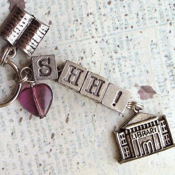 Librarian SHH Library Keychain Purse Charm by ALikelyStory on Etsy, $17.95