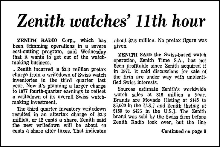 https://flic.kr/p/21ARXkP | Zenith Watches' 11th Hour,  An Article In The Chicago Tribune Newspaper, January 19, 1978