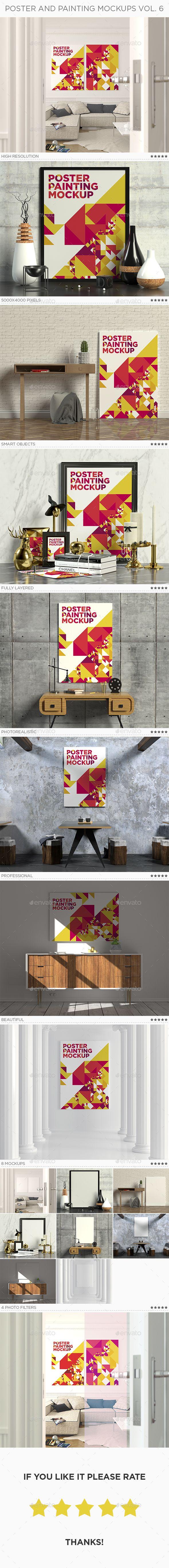 6 poster design photo mockups - Poster Painting Mockup Vol 6