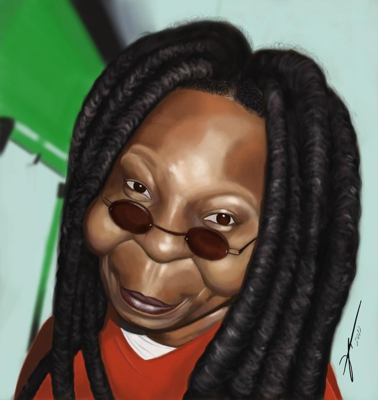 #Whoopi #Goldberg #digital #caricature by #Dani #Gonzalez, www.danigonzalez.com