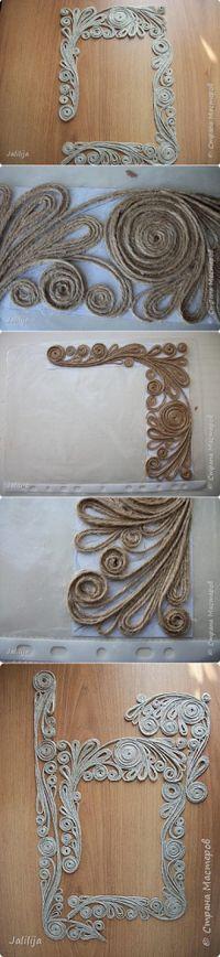 Декорирование зеркала в технике джутовой филиграни.   Страна Мастеров