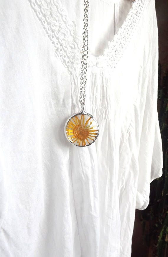 Necklace with yellow flower. Real flower jewelry. Pressed